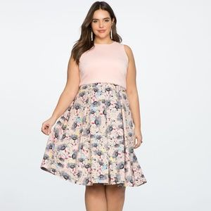 Eloquii Printed Skirt Pink Thistle Midi Dress